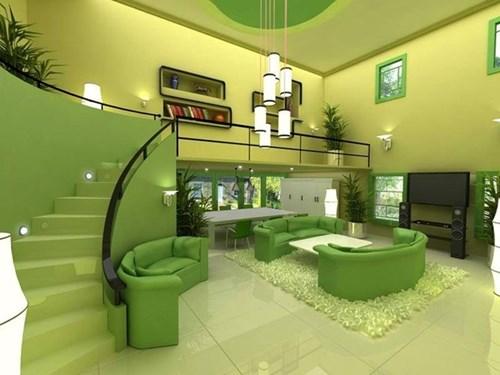 Sơn tường nhà xanh lá ngả vàng (Greenary) theo xu hướng 2017